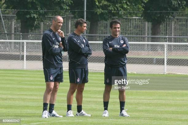 Paul LE GUEN et Yves COLLEU et Christian MAS Reprise entrainement du PSG Camp des Loges Saison 2007/2008