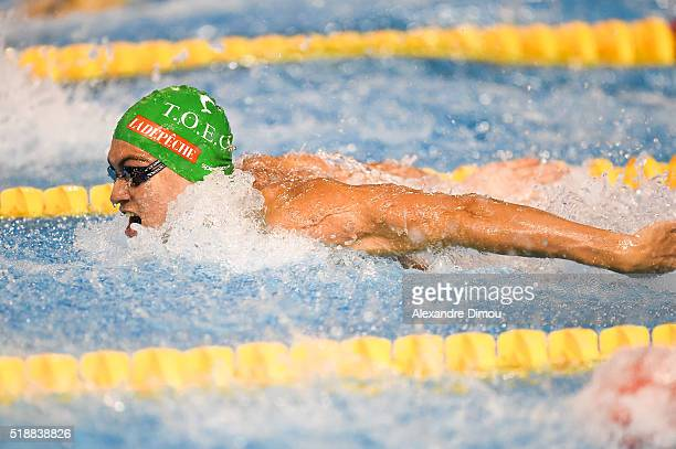 Paul Lemaire of France competes in the 100m butterfly men's on day six of the French National swimming championships on April 3 2016 in Montpellier...