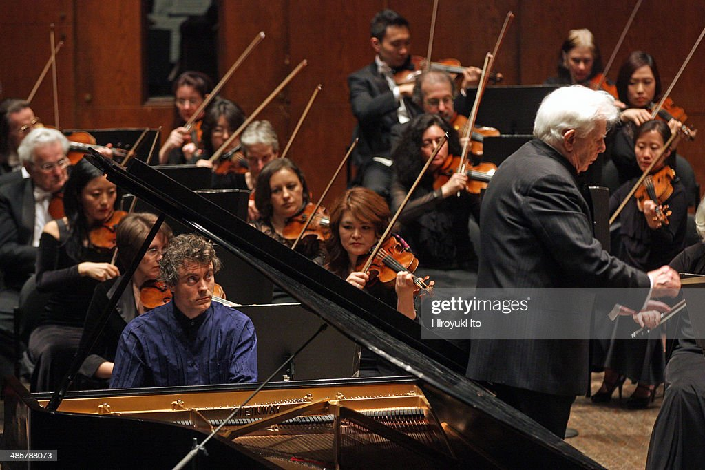 Paul Lewis performing Brahms's 'Piano Concerto No 1 in D Minor' with the New York Philharmonic led by Christoph von Dohnanyi at Avery Fisher Hall on...