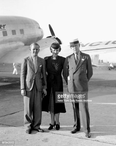 Paul Livermore and Mr Mrs Jesee Livermore after Mrs Livermore arrived on the United Air Liner plane from Omaha where she was visiting her mother Mrs...