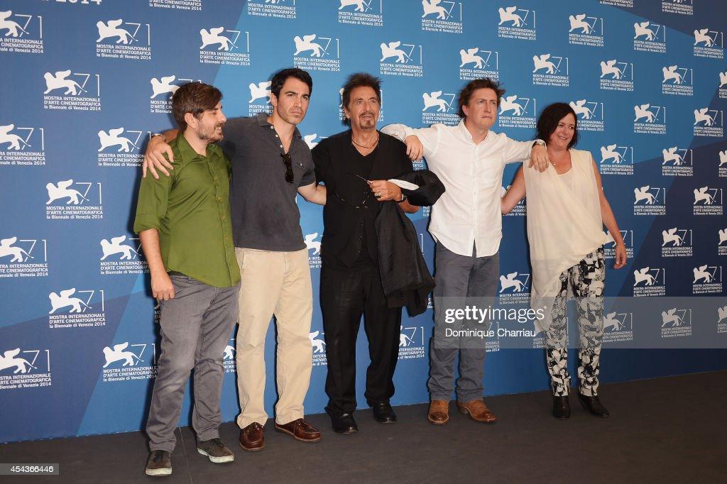 Paul Logan Chris Messina Al Pacino David Gordon Green and Lisa Muskat attend the 'Manglehorn' photocall during the 71st Venice Film Festival on...