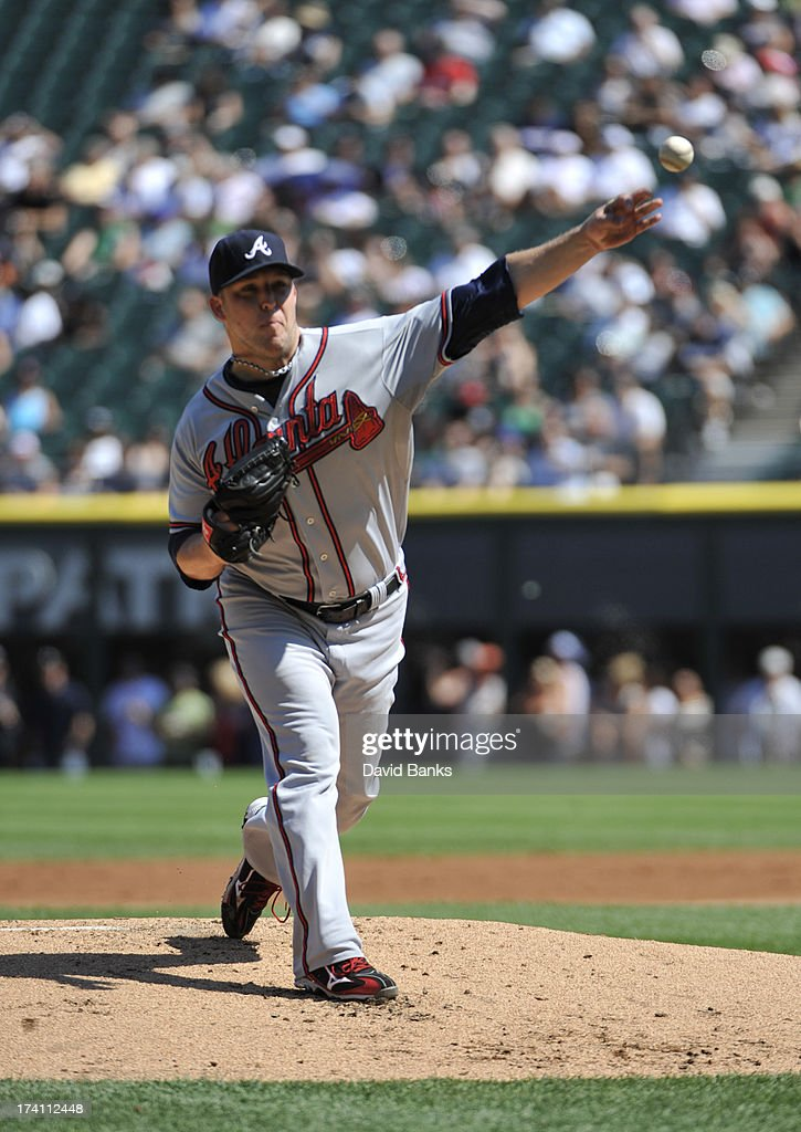 <a gi-track='captionPersonalityLinkClicked' href=/galleries/search?phrase=Paul+Maholm&family=editorial&specificpeople=585406 ng-click='$event.stopPropagation()'>Paul Maholm</a> #28 of the Atlanta Braves pitches against the Chicago White Sox during the first inning on July 20, 2013 at U.S. Cellular Field in Chicago, Illinois.