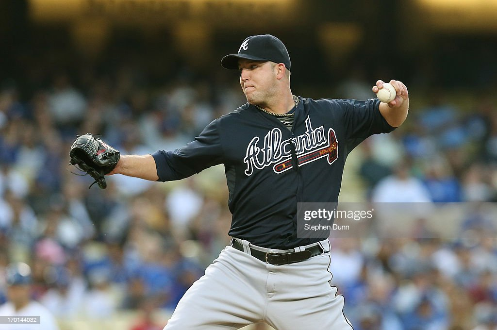 <a gi-track='captionPersonalityLinkClicked' href=/galleries/search?phrase=Paul+Maholm&family=editorial&specificpeople=585406 ng-click='$event.stopPropagation()'>Paul Maholm</a> #28 of the Atlanta Braves throws a pitch against the Los Angeles Dodgers at Dodger Stadium on June 7, 2013 in Los Angeles, California.