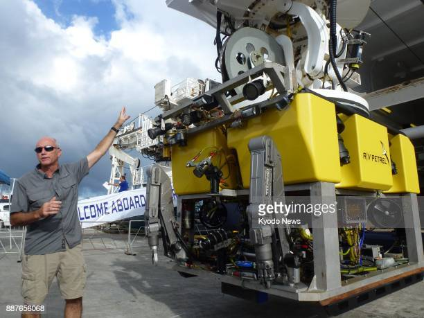 Paul Mayer a researcher for a deepsea exploration mission funded by billionaire Microsoft cofounder and philanthropist Paul Allen explains to media...