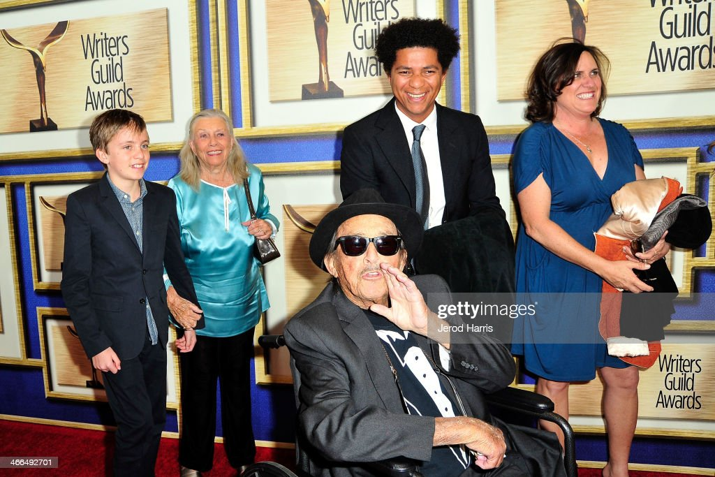<a gi-track='captionPersonalityLinkClicked' href=/galleries/search?phrase=Paul+Mazursky&family=editorial&specificpeople=657460 ng-click='$event.stopPropagation()'>Paul Mazursky</a> (center) arrives at the 2014 Writers Guild Awards L.A. Ceremony at JW Marriott Los Angeles at L.A. LIVE on February 1, 2014 in Los Angeles, California.