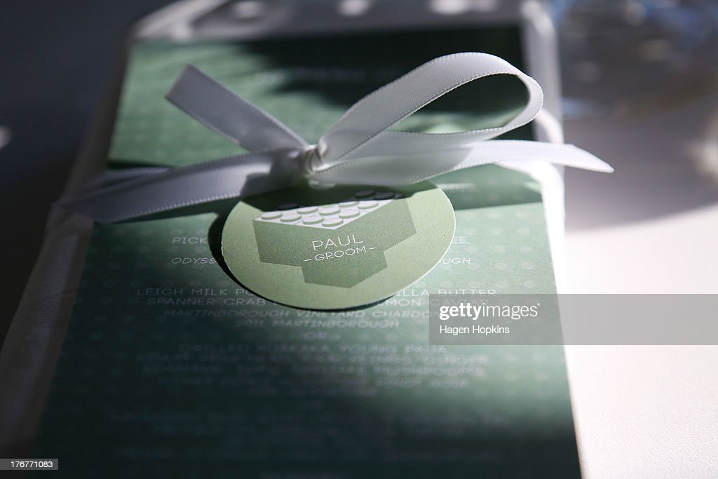 Paul McCarthy's place setting sits on a table prior to the wedding reception at Martin Bosley's on August 19, 2013 in Wellington, New Zealand. Australian gay couple Paul McCarthy and Trent Kandler were flown to Wellington by Tourism New Zealand in a promotion to highlight to Australians that same-sex marriage is legal in New Zealand.