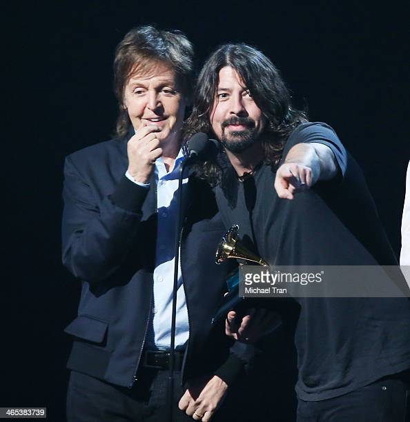 Paul McCartney and Dave Grohl speak onstage during the 56th GRAMMY Awards held at Staples Center on January 26 2014 in Los Angeles California