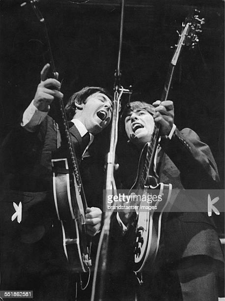 Paul McCartney and George Harrison Sweden 1965 Photograph