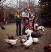 Paul McCartney and his wife Linda with their daughters Heather Stella and Mary in Rye East Sussex 4th April 1976