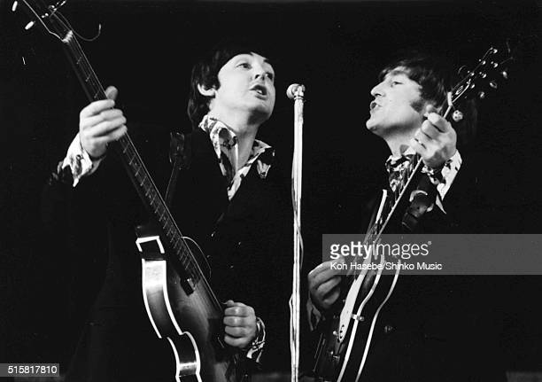 Paul McCartney and John Lennon of The Beatles live at Dodger Stadium Los Angeles California August 28 1966