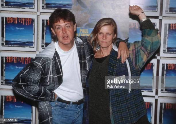 Paul McCartney and Linda McCartney pose at a photo call at the Olympic Stadium on September 3rd 1993 in Berlin Germany