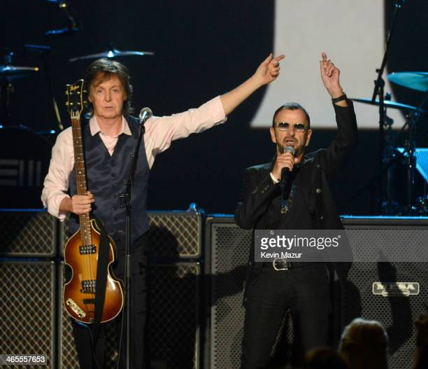 Paul McCartney and Ringo Starr perform onstage at 'The Night That Changed America A GRAMMY Salute To The Beatles' at Los Angeles Convention Center on...