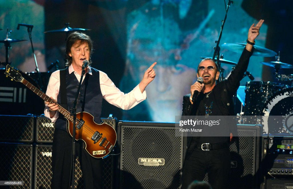 <a gi-track='captionPersonalityLinkClicked' href=/galleries/search?phrase=Paul+McCartney&family=editorial&specificpeople=92298 ng-click='$event.stopPropagation()'>Paul McCartney</a> and <a gi-track='captionPersonalityLinkClicked' href=/galleries/search?phrase=Ringo+Starr&family=editorial&specificpeople=92463 ng-click='$event.stopPropagation()'>Ringo Starr</a> perform onstage at 'The Night That Changed America: A GRAMMY Salute To The Beatles' at Los Angeles Convention Center on January 27, 2014 in Los Angeles, California.