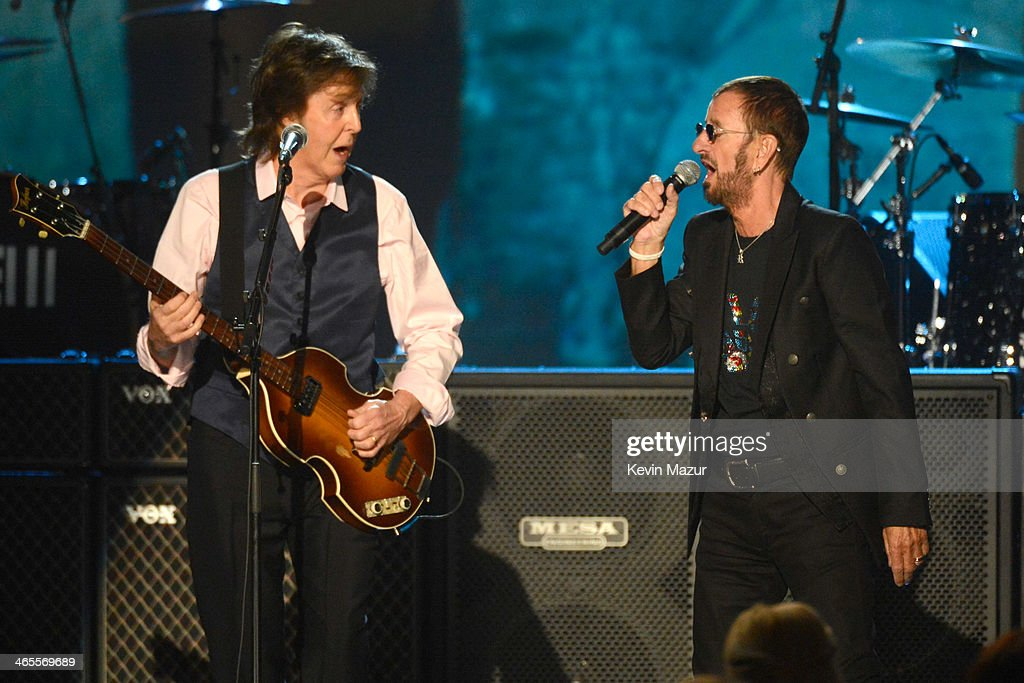 Paul McCartney and Ringo Starr perform onstage at 'The Night That Changed America: A GRAMMY Salute To The Beatles' at Los Angeles Convention Center on January 27, 2014 in Los Angeles, California.