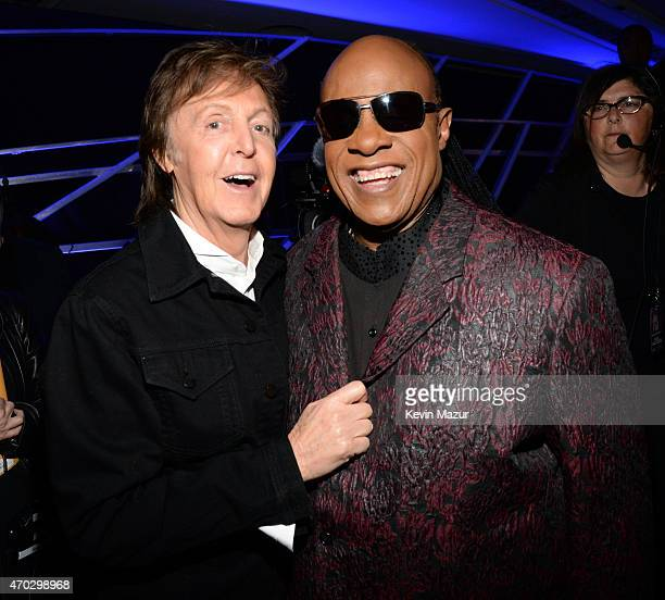 Paul McCartney and Stevie Wonder attend the 30th Annual Rock And Roll Hall Of Fame Induction Ceremony at Public Hall on April 18 2015 in Cleveland...