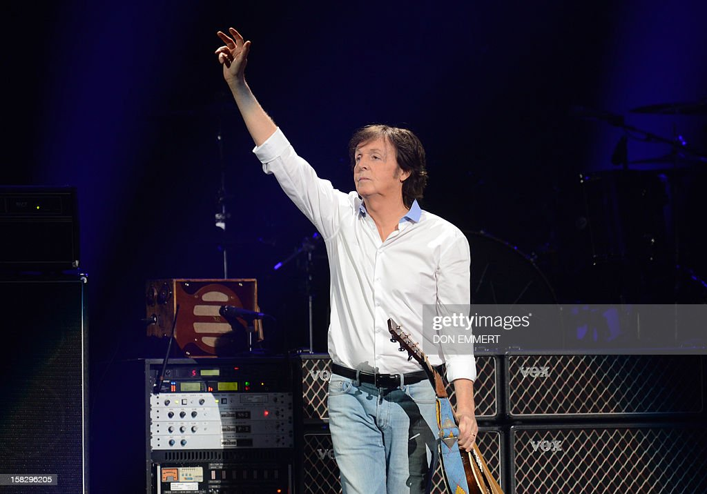 Paul McCartney arrives on stage for '12-12-12 ~ The Concert For Sandy Relief' December 12, 2012 at Madison Square Garden in New York. AFP PHOTO/DON EMMERT