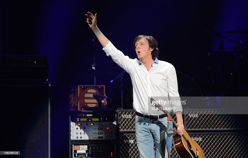 Paul McCartney arrives on stage for '12-12-12 ~ The Concert For Sandy Relief' December 12, 2012 at Madison Square Garden in New York.