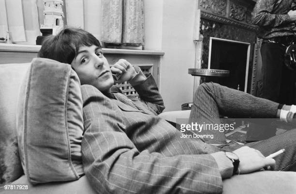 Paul McCartney at the press launch for the Beatles' new album 'Sergeant Pepper's Lonely Hearts Club Band' held at Brian Epstein's house at 24 Chapel...