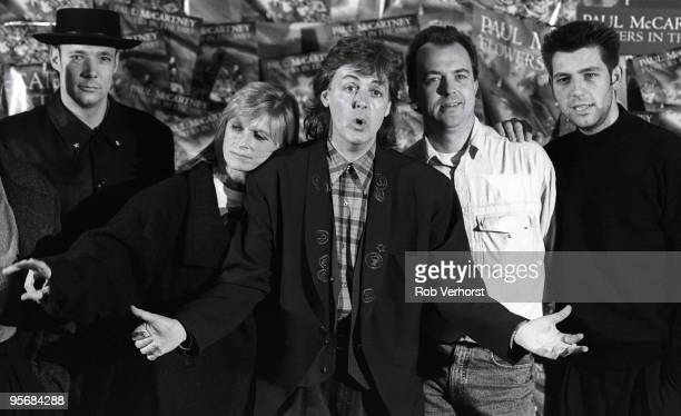 Paul McCartney Band tour photocall at Ahoy in Rotterdam Holland on November 07 1989 LR Paul 'Wix' Wickens Linda McCartney Paul McCartney Robbie...