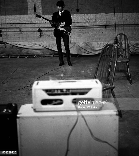 Paul McCartney is pictured at the Donmar Rehearsal Theatre in central London during rehearsals for The Beatles upcoming UK tour November 1965