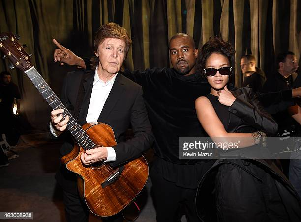 Paul McCartney Kanye West and Rihanna attend The 57th Annual GRAMMY Awards at STAPLES Center on February 8 2015 in Los Angeles California
