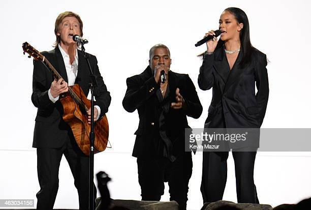 Paul McCartney Kanye West and Rihanna perform onstage during The 57th Annual GRAMMY Awards at the STAPLES Center on February 8 2015 in Los Angeles...