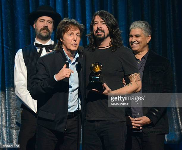 Paul McCartney Krist Novoselic and Dave Grohl accept award onstage during the 56th GRAMMY Awards at Staples Center on January 26 2014 in Los Angeles...