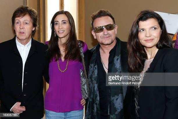 Paul McCartney Nancy Shevell Bono and his wife Ali Hewson attend the Stella McCartney Fall/Winter 2013 ReadytoWear show as part of Paris Fashion Week...