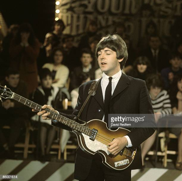 STARS Photo of BEATLES and Paul McCARTNEY with The Beatles performing playing Hofner 500/1 violin bass guitar at Alpha Television Studios Aston...