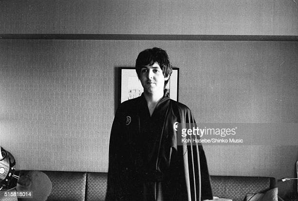 Paul McCartney of the Beatles wearing a kimono during an interview for Japanese music magazine 'Music Life' Tokyo Hilton Hotel Japan July 2 1966