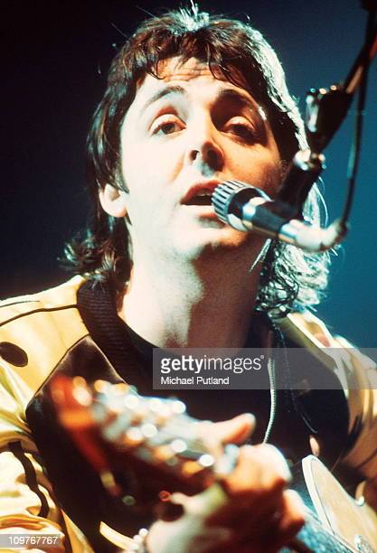 Paul McCartney of Wings performing on stage circa 1976