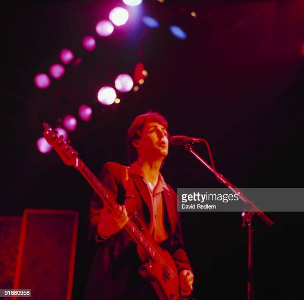 Paul McCartney of Wings performs on stage at Wembley Arena in London England in December 1979