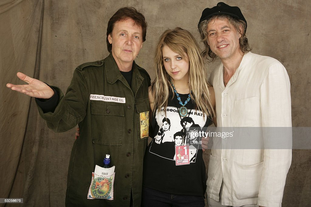 Paul McCartney, Peaches Geldof, and Bob Geldof pose for a studio portrait backstage at 'Live 8 London' in Hyde Park on July 2, 2005 in London, England. The free concert is one of ten simultaneous international gigs including Philadelphia, Berlin, Rome, Paris, Barrie, Tokyo, Cornwall, Moscow and Johannesburg. The concerts precede the G8 summit (July 6-8) to raising awareness for MAKEpovertyHISTORY.