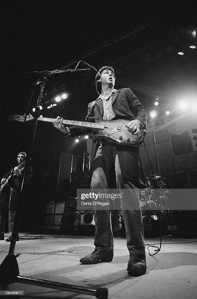 Paul McCartney performing with his band Wings at Wembley Arena London December 1979 Guitarist Denny Laine is on the left