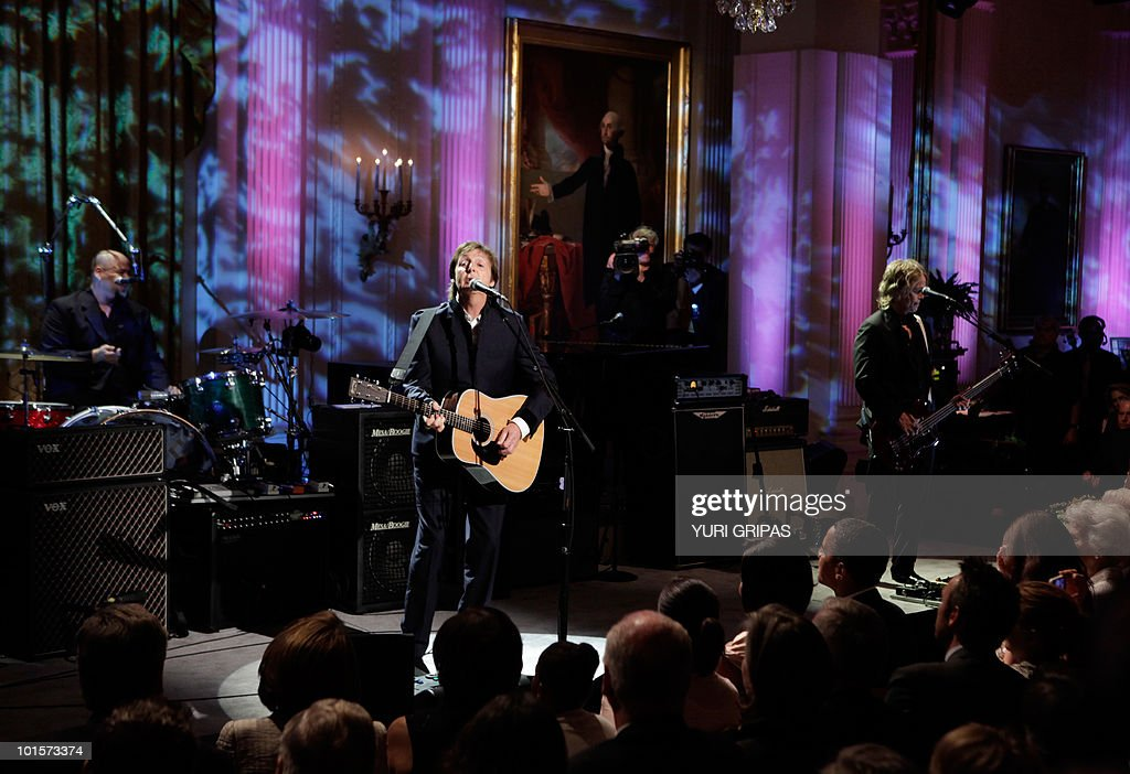 Paul McCartney performs after receiving the third Gershwin Prize for Popular Song at the White House in Washington, DC on June 2, 2010. McCartney's appearance was part of a two-day series of events marking the award issued by the Library of Congress.