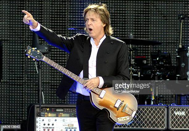 Paul McCartney performs during 2015 Lollapalooza at Grant Park on July 31 2015 in Chicago Illinois