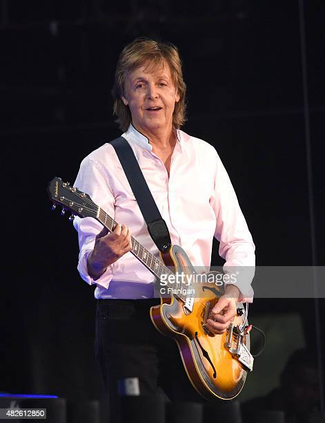 Paul McCartney performs during the 2015 Lollapalooza Music Festival at Grant Park on July 31 2015 in Chicago Illinois