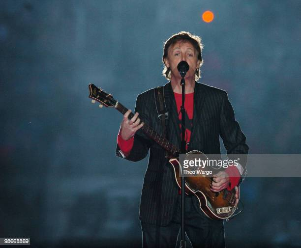 Paul McCartney performs during the Half Time Show of Super Bowl XXXIX at Alltel Stadium in Jacksonville Florida on February 6 2005