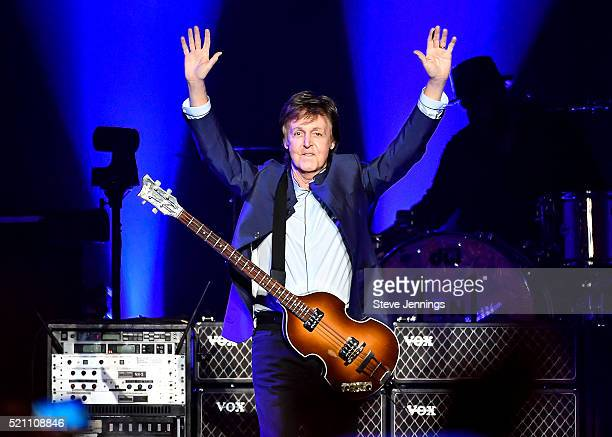 Paul McCartney performs on Opening Night of the One On One Tour at Save Mart Center on April 13 2016 in Fresno California