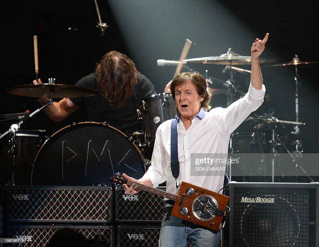 Paul McCartney performs on stage during '12-12-12 ~ The Concert For Sandy Relief' December 12, 2012 at Madison Square Garden in New York. AFP PHOTO/DON EMMERT
