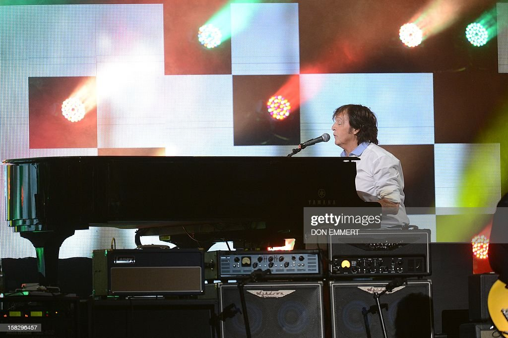 Paul McCartney performs on stage during '12-12-12 ~ The Concert For Sandy Relief' December 12, 2012 at Madison Square Garden in New York.