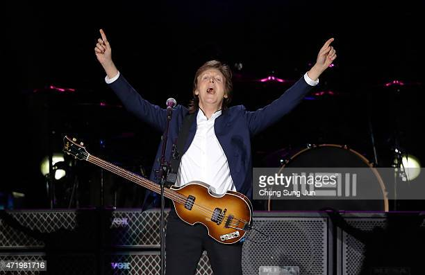 Paul McCartney performs on stage during The Out There Tour 2015 on May 2 2015 in Seoul South Korea