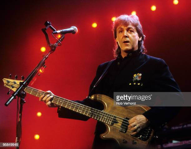 Paul McCartney performs on stage playing a Wal 5string bass guitar on the Paul McCartney World Tour at Ahoy on November 11th 1989 in Rotterdam...