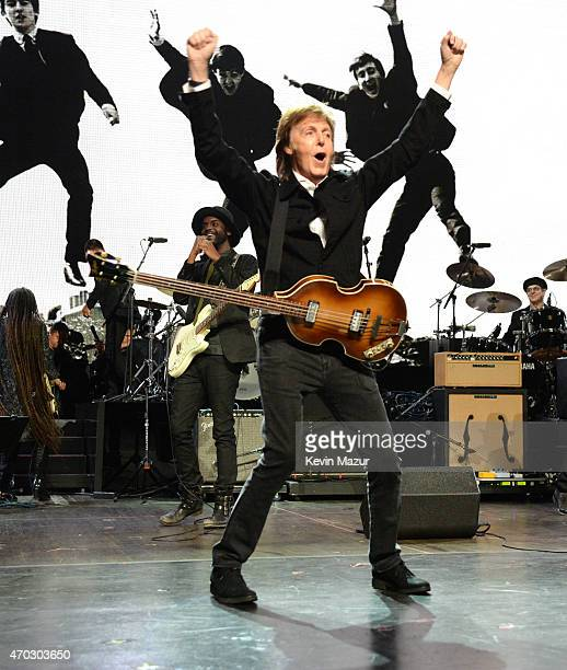 Paul McCartney performs onstage during the 30th Annual Rock And Roll Hall Of Fame Induction Ceremony at Public Hall on April 18 2015 in Cleveland Ohio