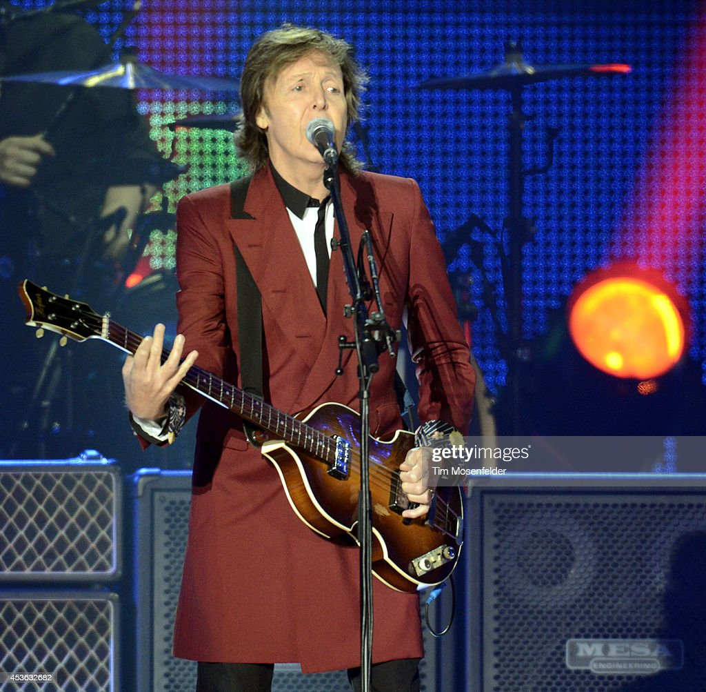 Paul McCartney performs part of his 'Out There' tour at Candlestick Park on August 14 2014 in San Francisco California