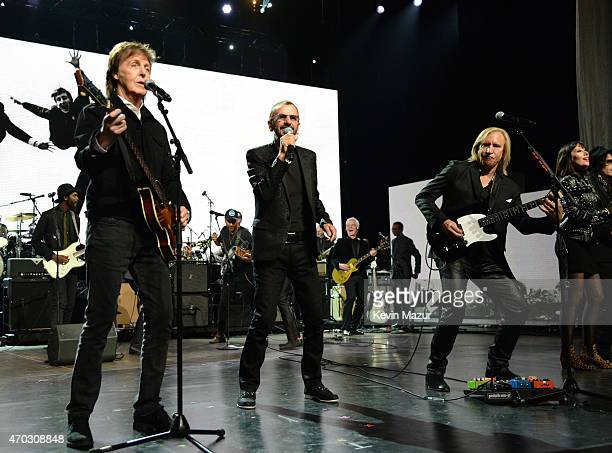 Paul McCartney Ringo Starr and Joe Walsh perform onstage during the 30th Annual Rock And Roll Hall Of Fame Induction Ceremony at Public Hall on April...