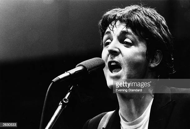 Paul McCartney singersongwriter with Wings and former Beatle in concert