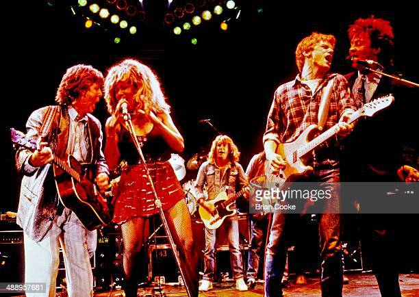 Paul McCartney Tina Turner Rick Parfitt Bryan Adams and Paul Young performing at The Princes Trust 10th Birthday Party at Wembley Arena on June 20...