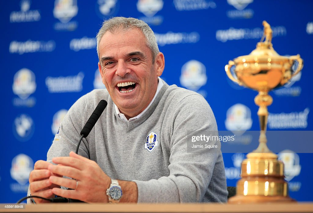 <a gi-track='captionPersonalityLinkClicked' href=/galleries/search?phrase=Paul+McGinley&family=editorial&specificpeople=178983 ng-click='$event.stopPropagation()'>Paul McGinley</a>, Captain of the Europe team laughs during a press conference ahead of the 2014 Ryder Cup on the PGA Centenary course at the Gleneagles Hotel on September 22, 2014 in Auchterarder, Scotland.
