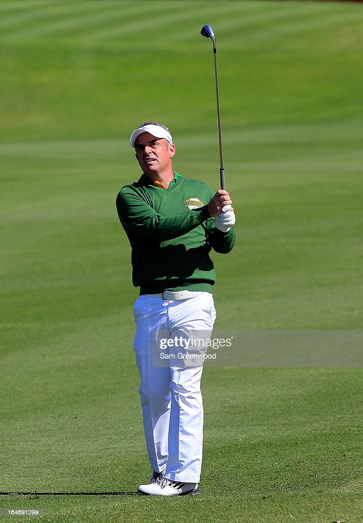 <a gi-track='captionPersonalityLinkClicked' href=/galleries/search?phrase=Paul+McGinley&family=editorial&specificpeople=178983 ng-click='$event.stopPropagation()'>Paul McGinley</a> of Ireland and Team Queenwood plays a shot during the second day of the Tavistock Cup at the Isleworth Golf and Country Club on March 26, 2013 in Windermere, Florida.